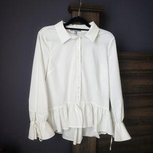 Bloomingdale's Tops - marled reunited peplum button shirt bell sleeves